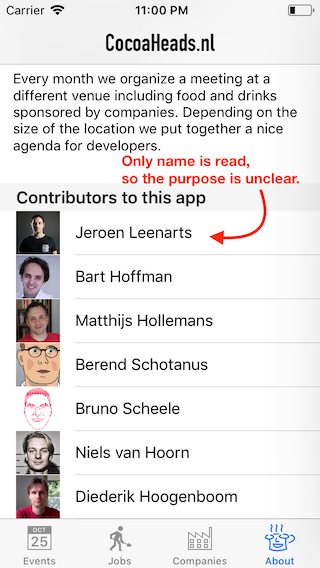 Screenshot of the contributors list, where only the name is read out loud.