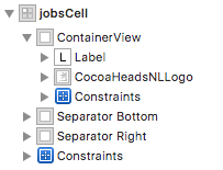 Screenshot of jobs cell hierarchy, now with all UI elements contained in a container view.