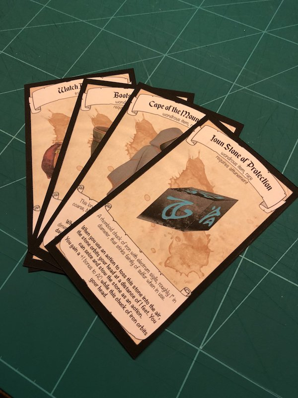 Printed out magic item cards