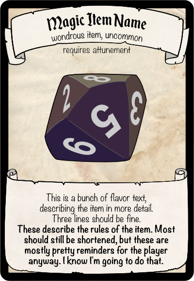 An example magic item card